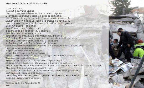 poesia sul terremoto a l'Aquila del 2009