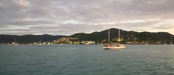 Early evening view across the water to Airlie Beach