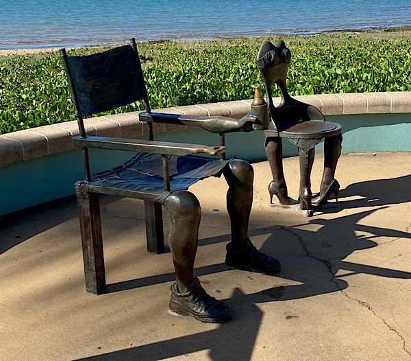 His and hers chairs - bronze sculpture