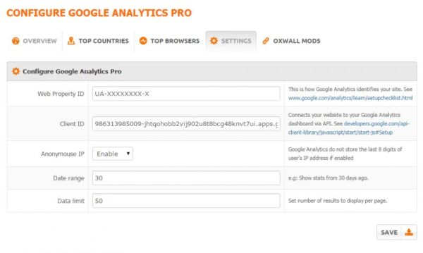 Google Analytics Pro Settings