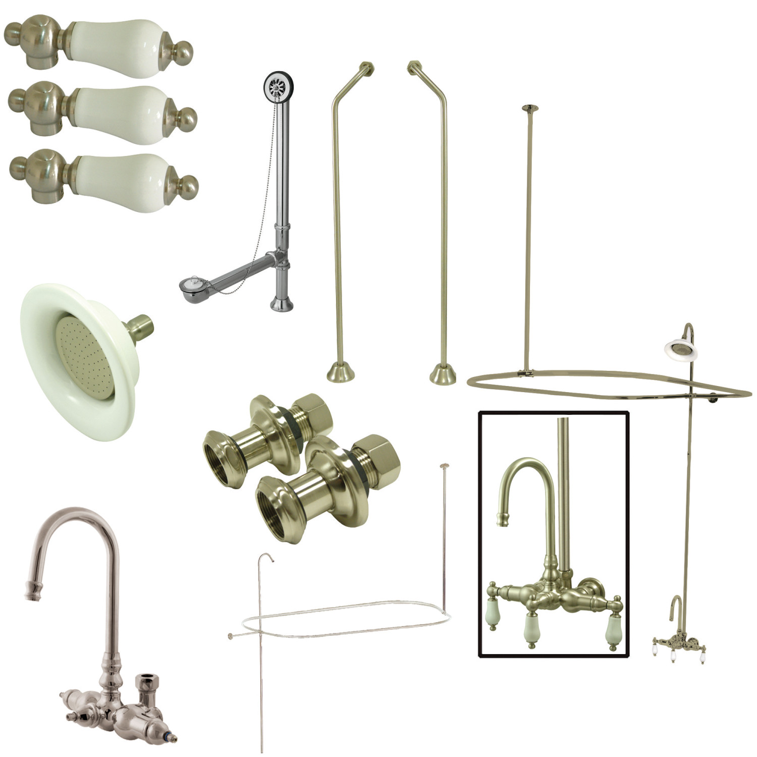 Elements Of Design Edk4188pl Gooseneck Clawfoot Tub Faucet Package 8 Inch Rough In Brushed Nickel