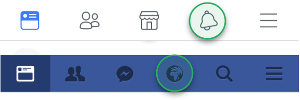 screenshot showing Facebook navigation bar on android and the web with the notification icon highlighted