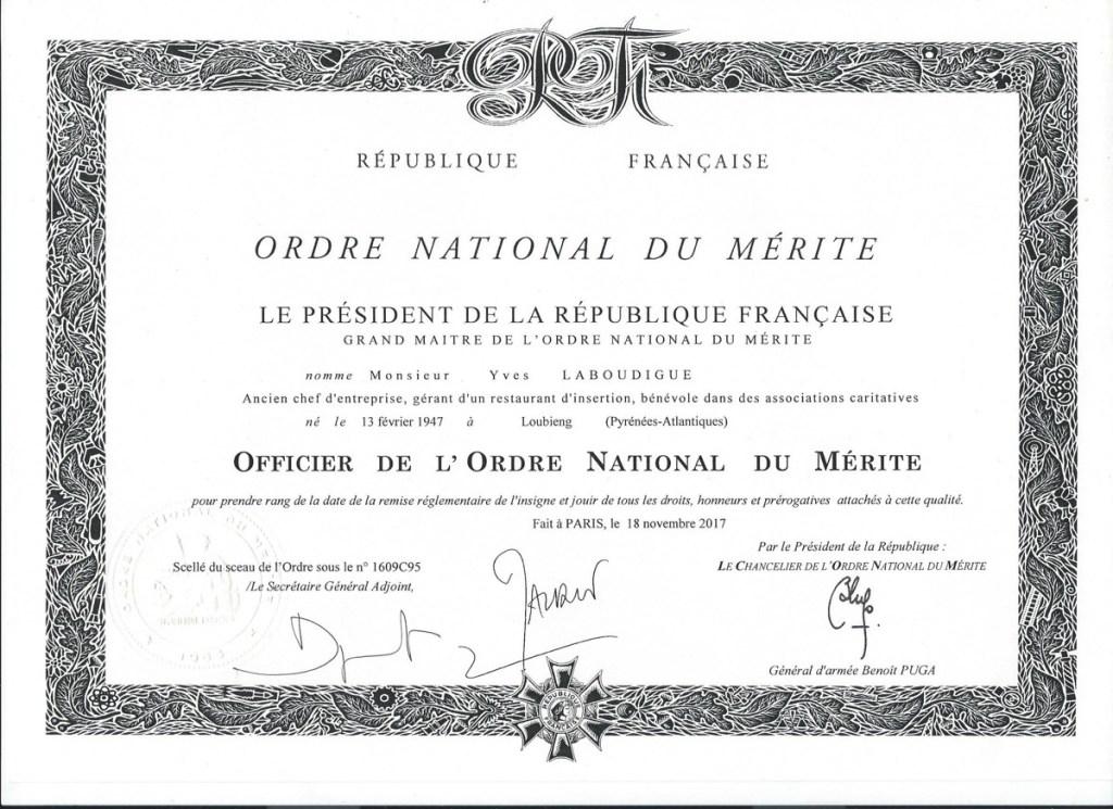 Ordre national du mérite- Yves Laboudigue