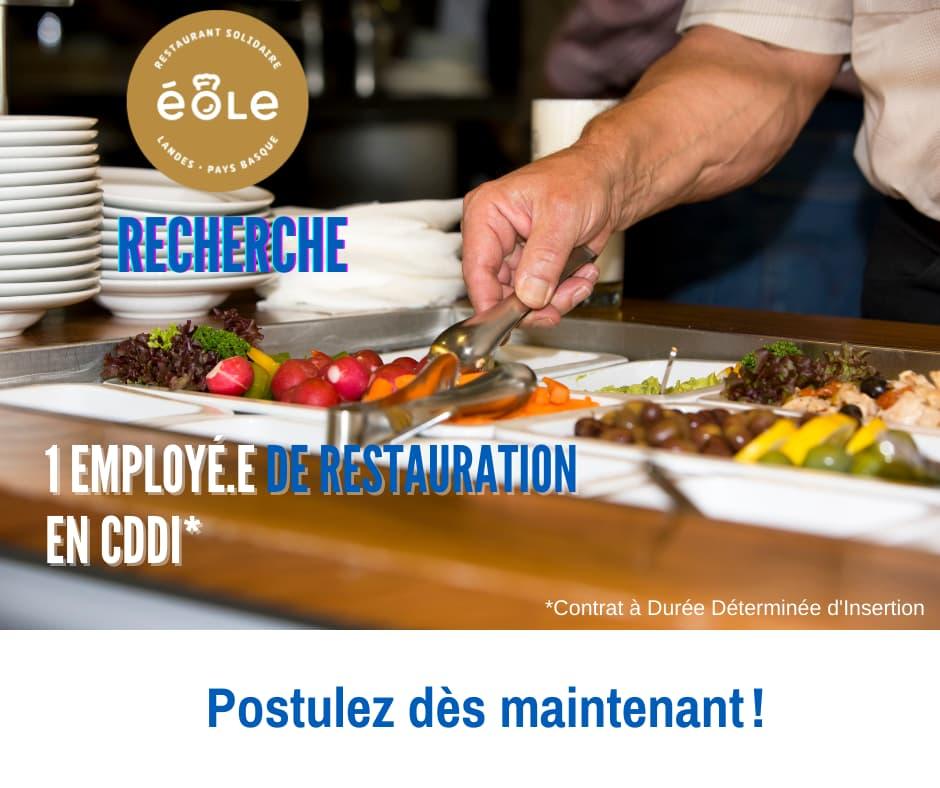 Le restaurant solidaire Éole recherche 1 employé.e de restauration en CDDI