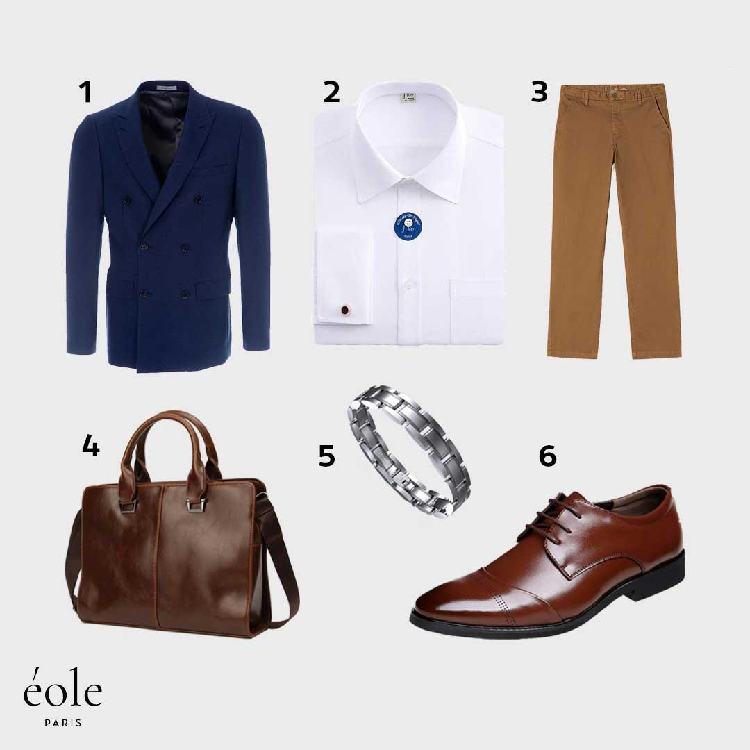 Look Casual Chic | Mi-Saison | Blazer Croisé Bleu, Chemise Manchettes Française, Porte document…