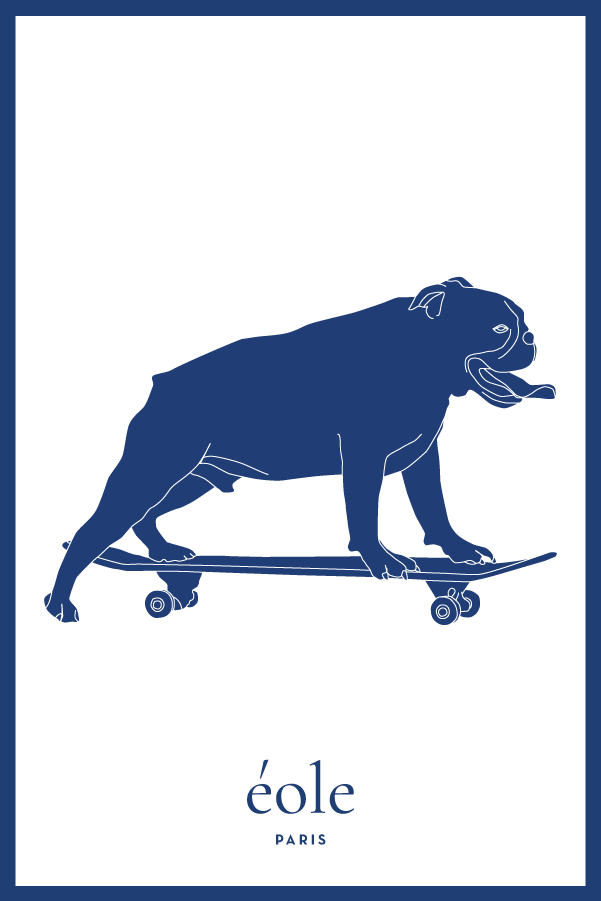 Dog On Skate Blue And White - EOLE PARIS