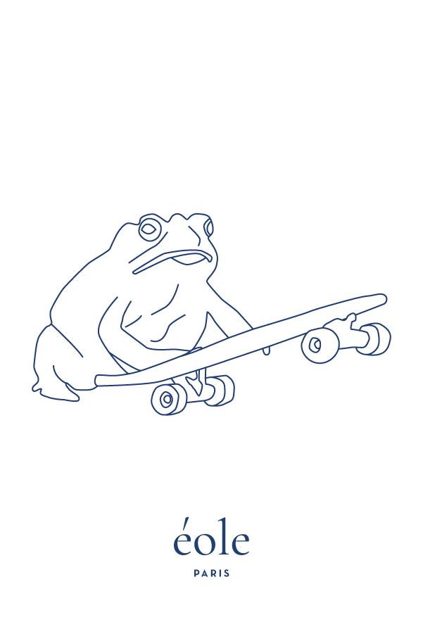 Grenouille et Skate blanc et bleu - EOLE Bleu
