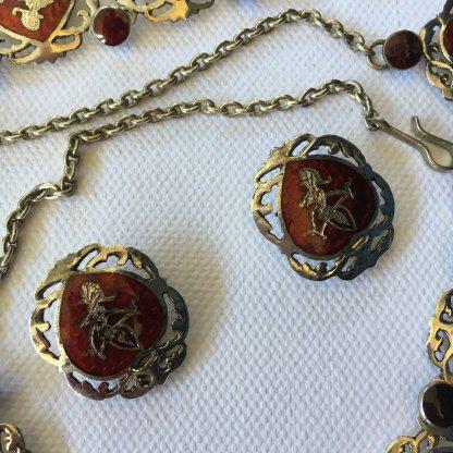 vintage siam silver necklace set