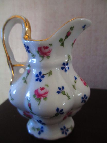 Gorgeous Little Collectible Miniature Regal Porcelain Wash Bowl And Jug