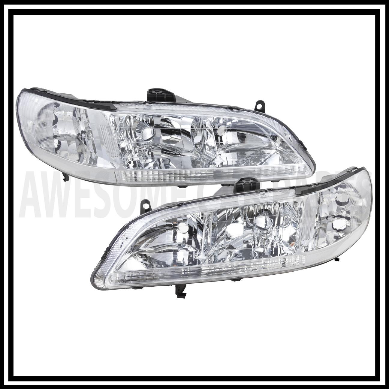 Euro Chrome Housing Clear Lens Headlights Lamp Jdm For 98