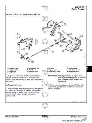 John Deere 675, 675B Skid Steer Loaders Technical Manual