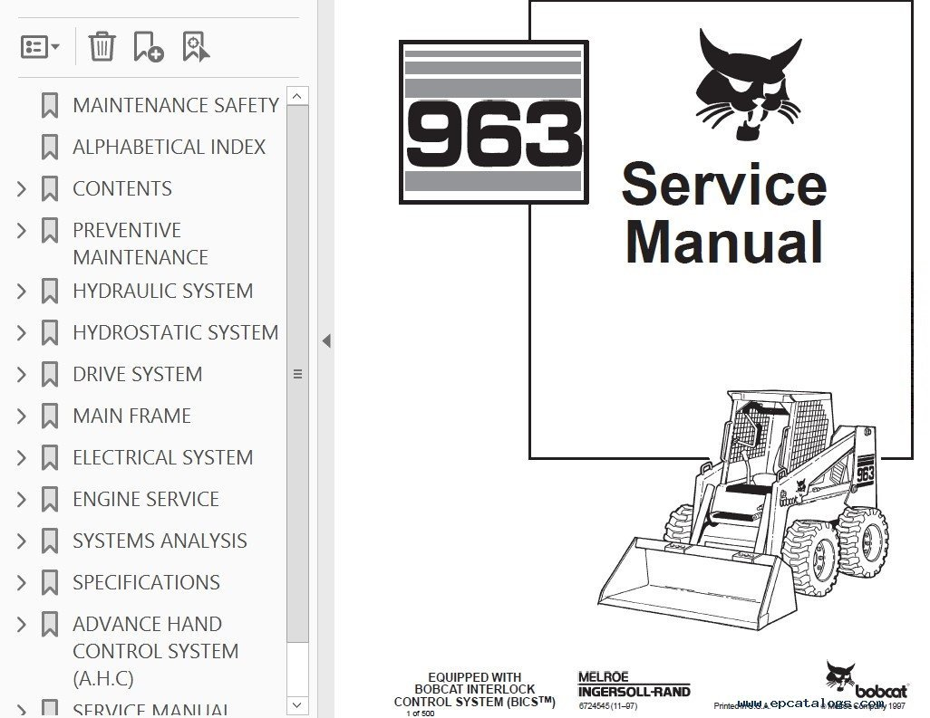 Bobcat 963 Loader Service Manual
