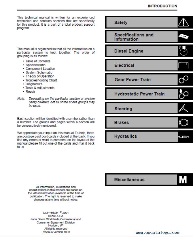 john deere 4100 tractor compact utility tm1630 technical manual pdf