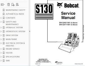 Bobcat S130 Skid Steer Loader Service Manual PDF
