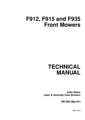 John Deere F912 F915 F935 Front Mowers Technical Manual
