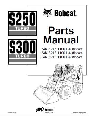Bobcat S250 & S300 Turbo Skid Steer Loaders Parts Manual
