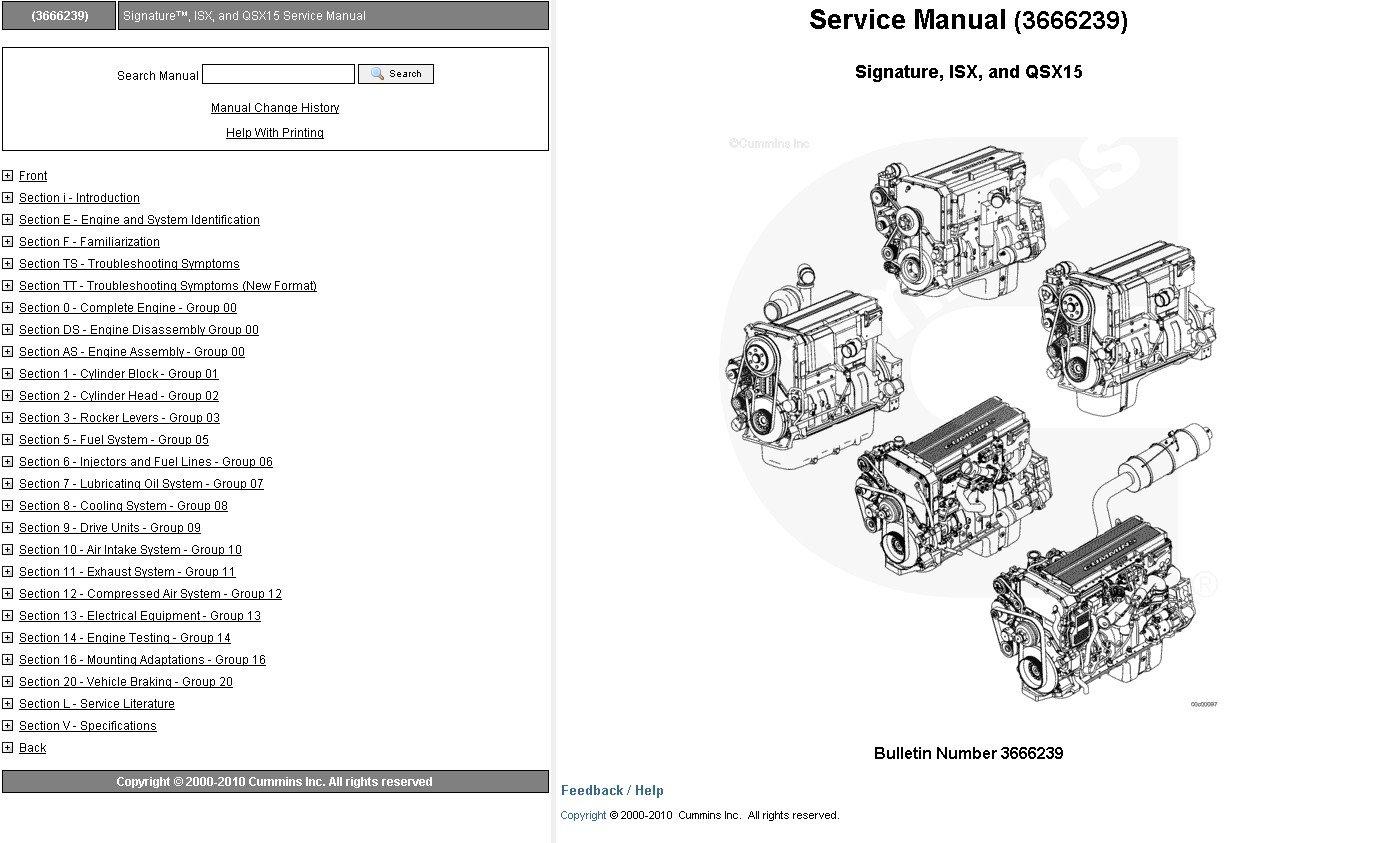 Cummins Engine Signature Isx Qsx15 Service Manual Download