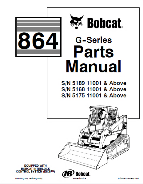 Bobcat 864 G Series Skid Steer Loader Parts Manual