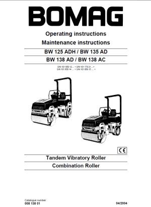 Bomag BW125ADH  BW135AD & BW138AD  BW138AC PDF