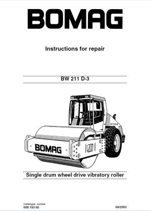 Bomag BW 211 D3 Drum Wheel Roller Instructions Repair PDF