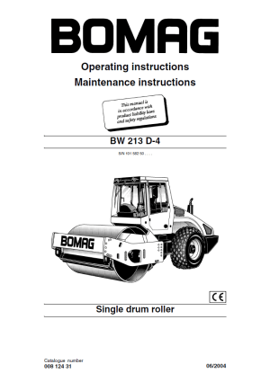 Bomag BW213 D4 Drum Roller Operating Instructions PDF