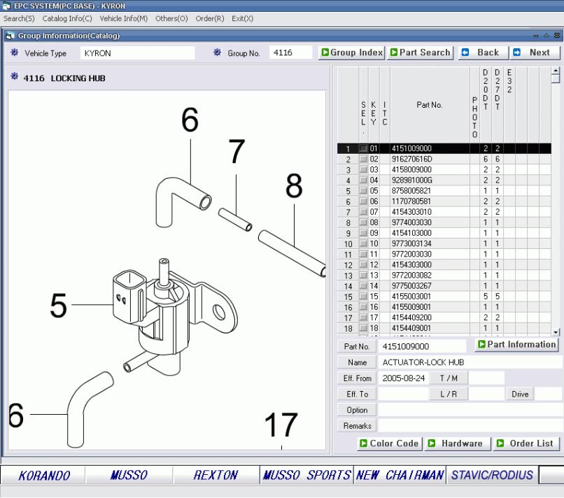 Spare Parts Catalog Ssang Yong 2017