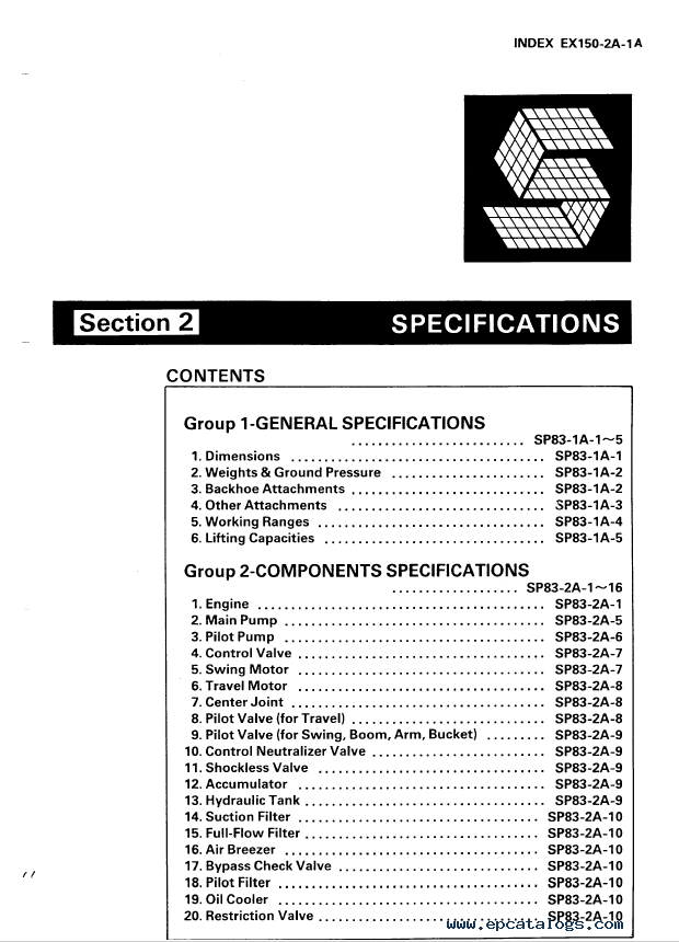 Hitachi Ex150 Excavator Service Manual