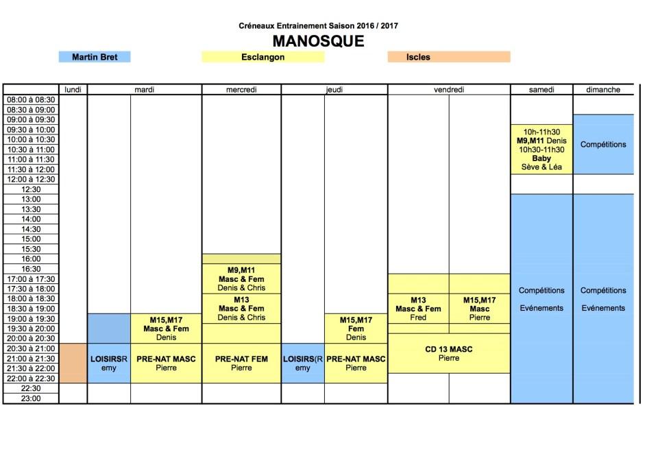 Créneaux Manosque 2016