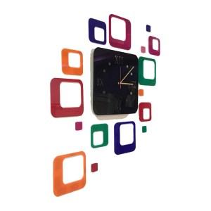 Wall clock multicolour square theme