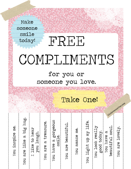 Pretties to Print – Free Complements Poster
