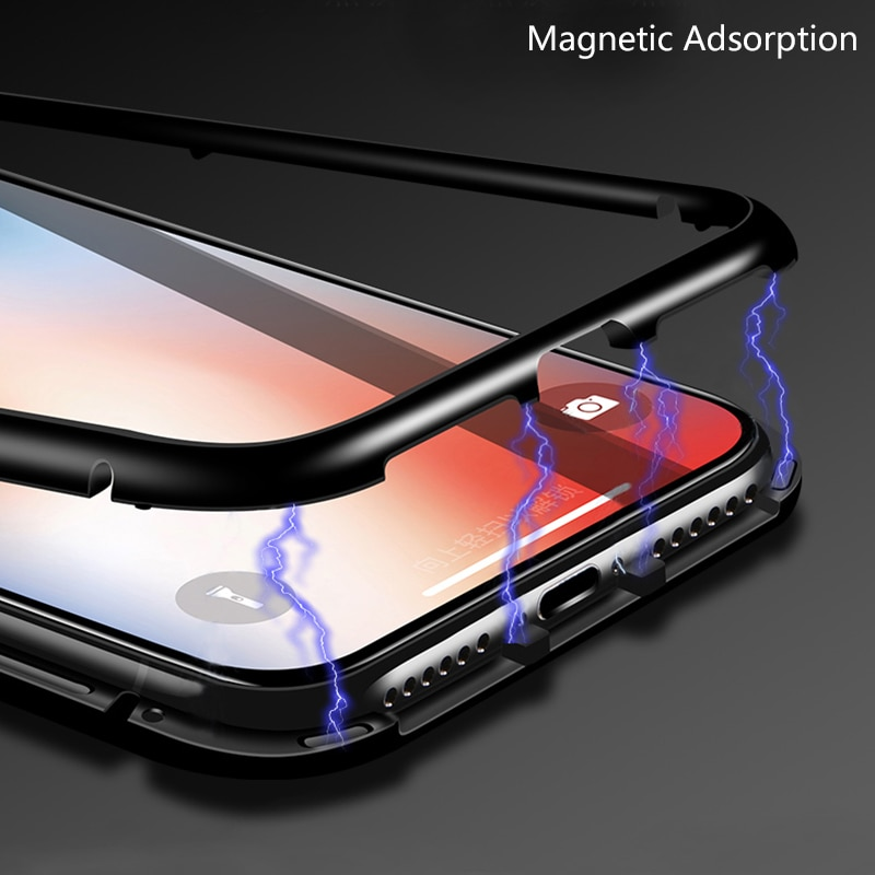 pretty nice 075a9 90724 CHYI Built-in Magnetic Case for iPhone X Clear Tempered Glass Magnet  Adsorption Case for iPhone 8 7 Plus glass Back Cover bumper