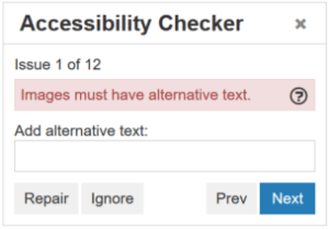 TinyMCE Accessibility Check Dialog