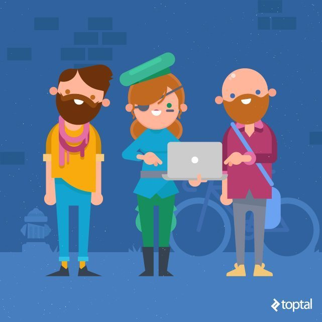 Toptal Designer Blog illustration hipsters with computer