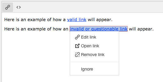 Invalid link context menu for Link Checker