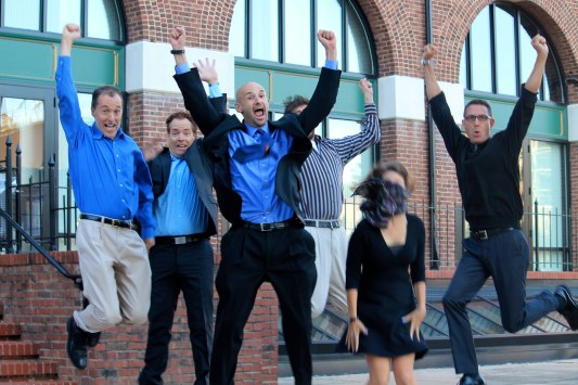 The EPIC team's jump for joy