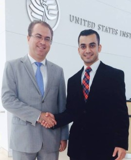 Sarhang Hamasaeed and Taif Jany at the USIP headquarters in Washington, DC.