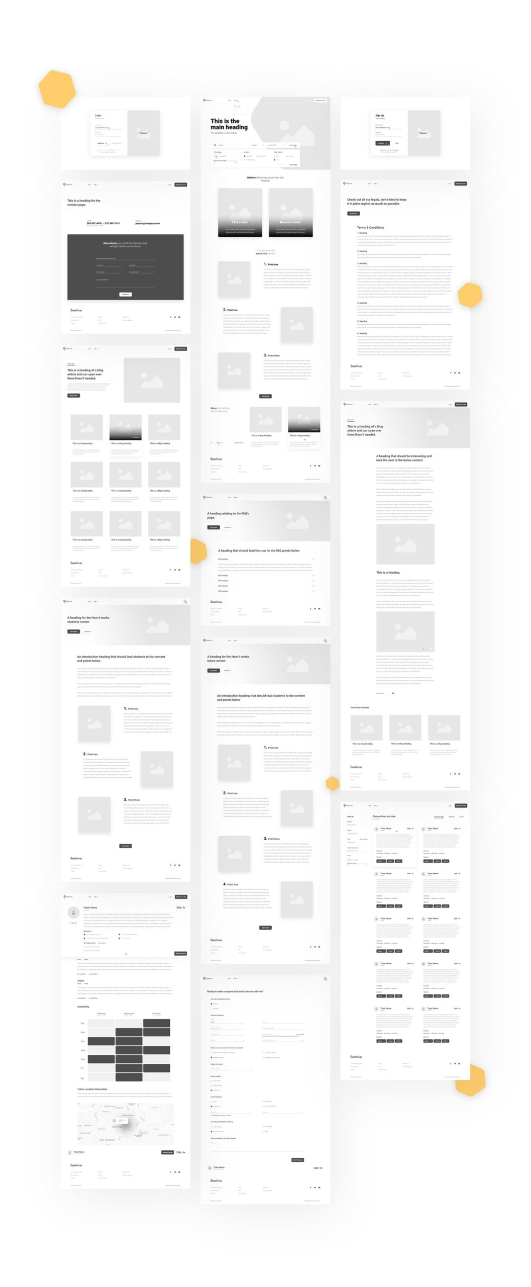 Picture of Beehive's System Wireframes