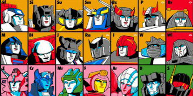 The Transformers Periodic Table Graphic