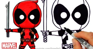 How to Draw + Color Deadpool Chibi step by step Marvel Superhero