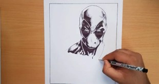 Drawing DeadPool with black pen - Marvel Comic style (HAC)