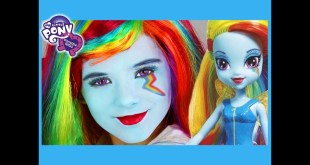 My Little Pony Rainbow Dash Makeup Tutorial!  Equestria Girl Doll Cosplay | Kittiesmama