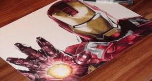 Iron Man Drawing - Marvel - DeMoose Art