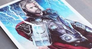 Thor Pen Drawing - Marvel - DeMoose Art
