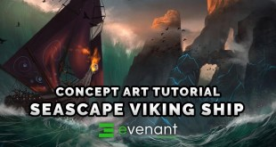 Stormy Sea Viking Ship - Digital Painting Tutorial - Concept Art