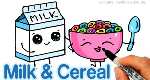 How to Draw Milk and Cereal Easy - Cartoon Food