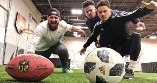 Football vs Soccer Trick Shots | Dude Perfect