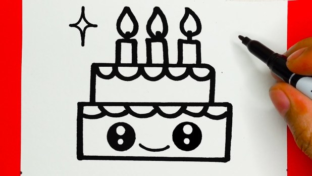 How to Draw a Cute  Cake - Draw Cute Things