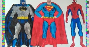 Superman, Batman vs Spiderman SuperHeroes How to colors for kids Coloring pages book