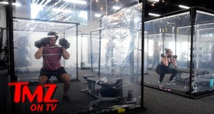 CA Gym Installs Shower Curtain Workout Pods In Return From COVID Closure | TMZ