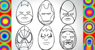 Superheroes Eggs Coloring Pages Spiderman, Thor, Hulk, Wolverine, Batman,ironman